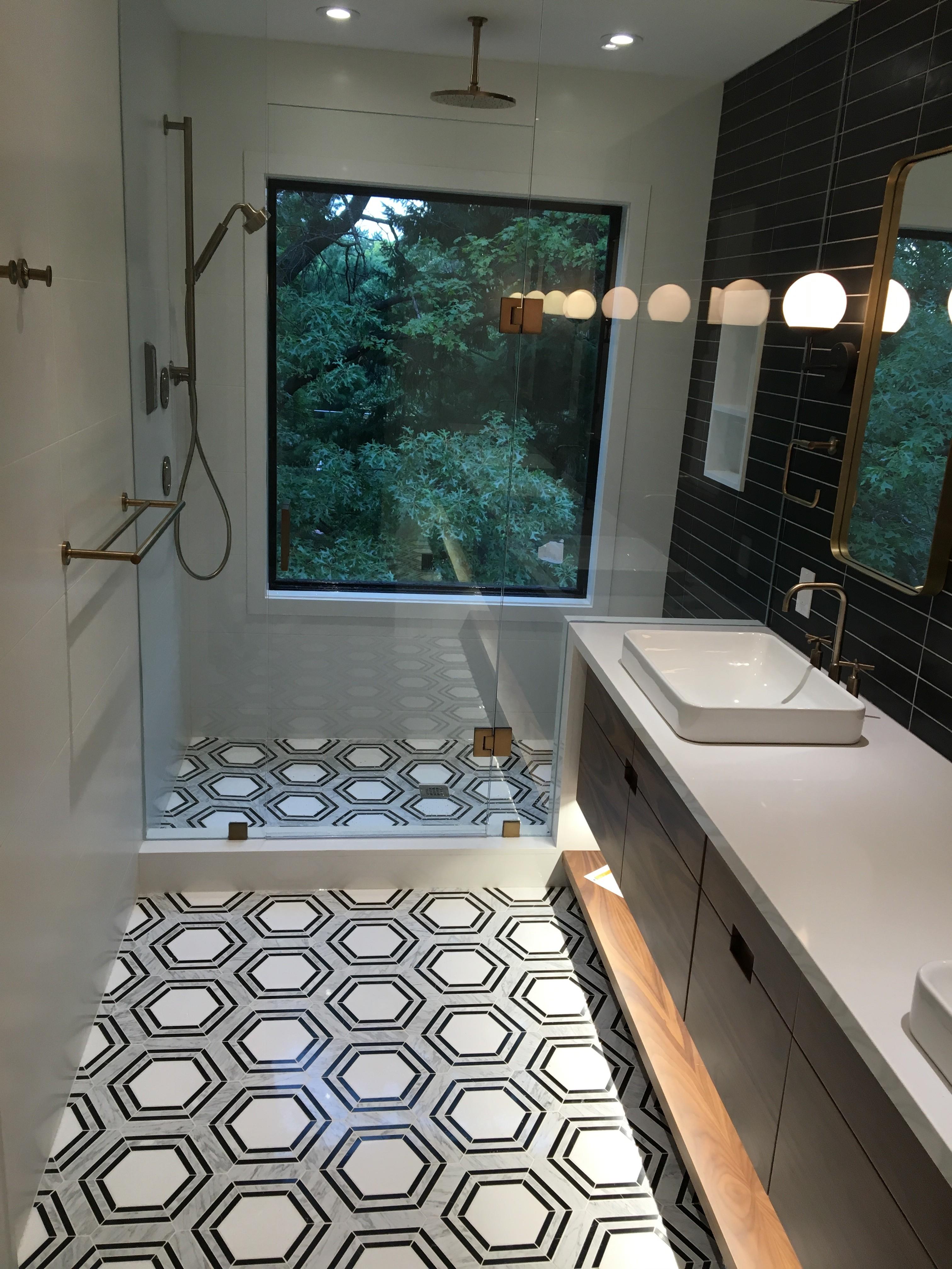Custom full master bathroom. High Park